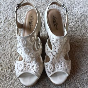 Lucky Brand Cork Platform Wedges with Lace Detail